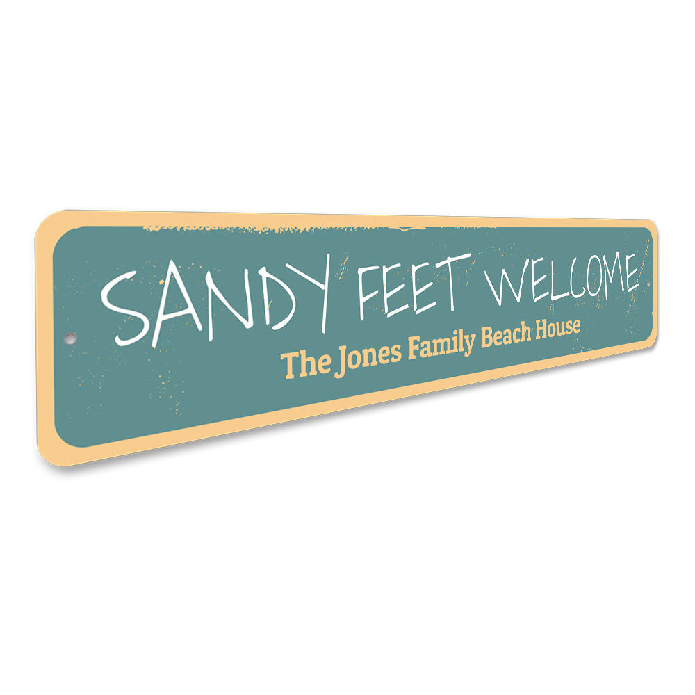 Sandy Feet Welcome Sign Aluminum Sign