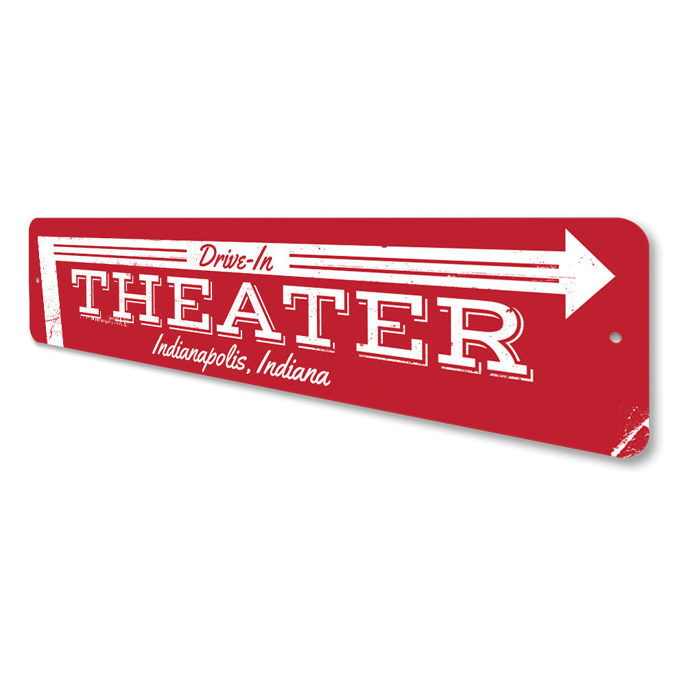 Drive-In Theater Arrow Sign Aluminum Sign