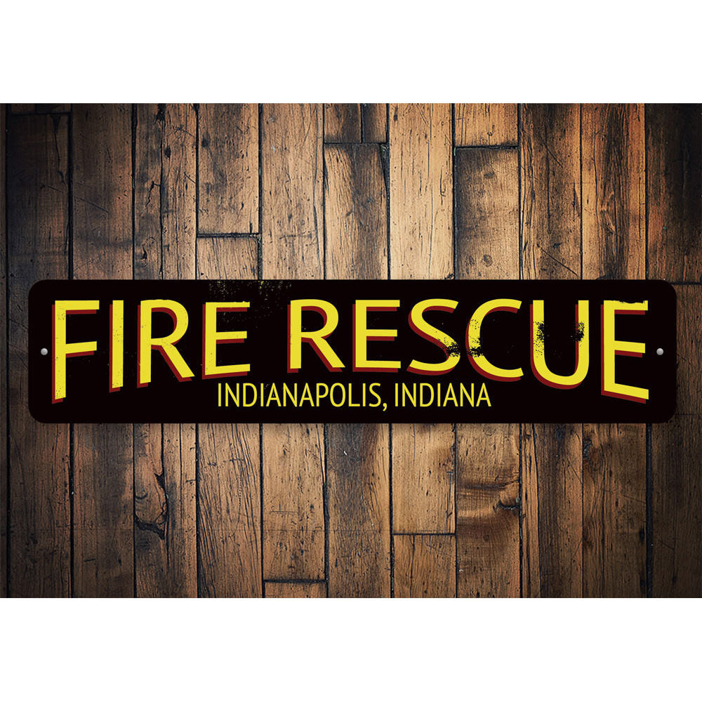 Fire Rescue City State Sign Aluminum Sign