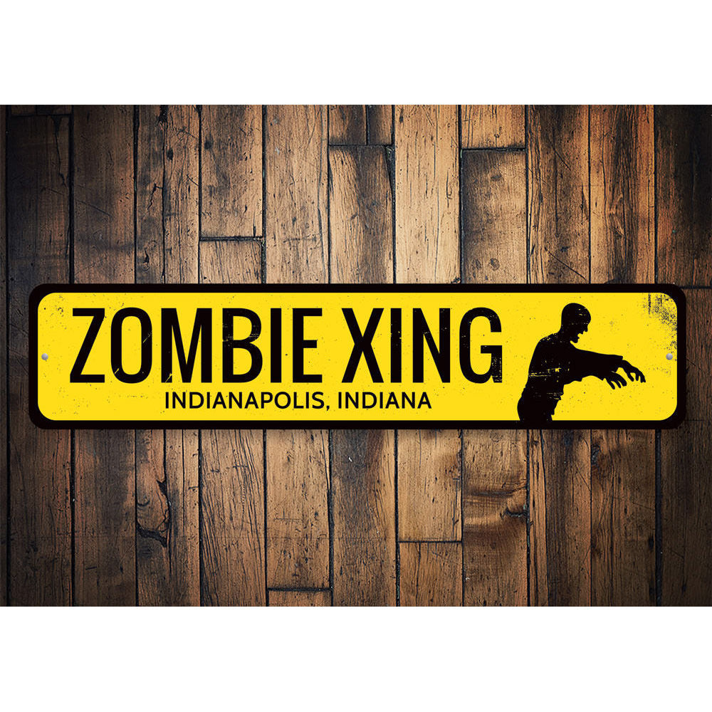 Zombie Crossing Sign Aluminum Sign