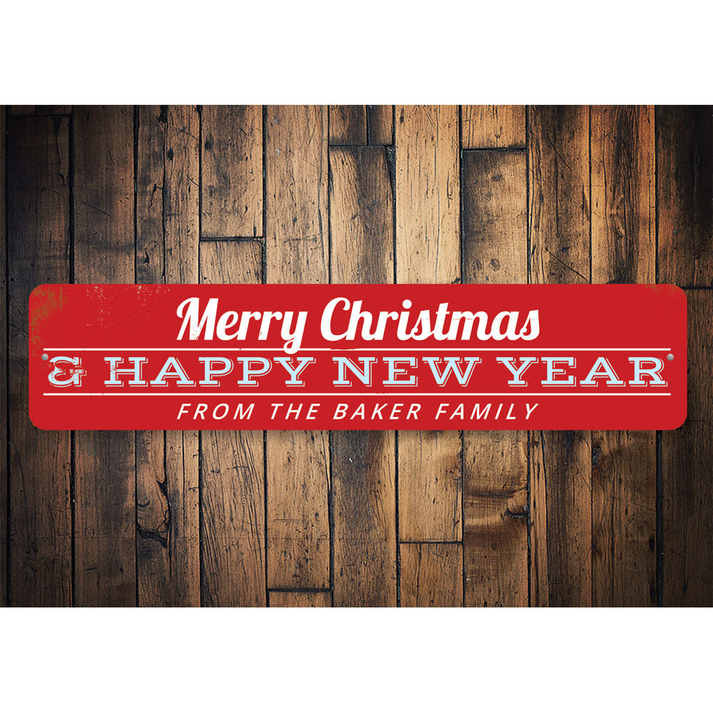 Merry Christmas & Happy New Year Family Sign Aluminum Sign