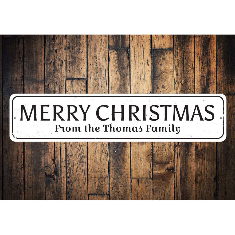 Merry Christmas Family Name Sign Aluminum Sign