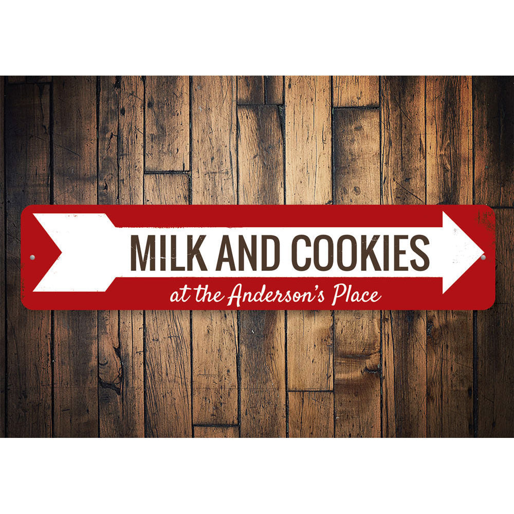 Milk & Cookies Arrow Sign Aluminum Sign