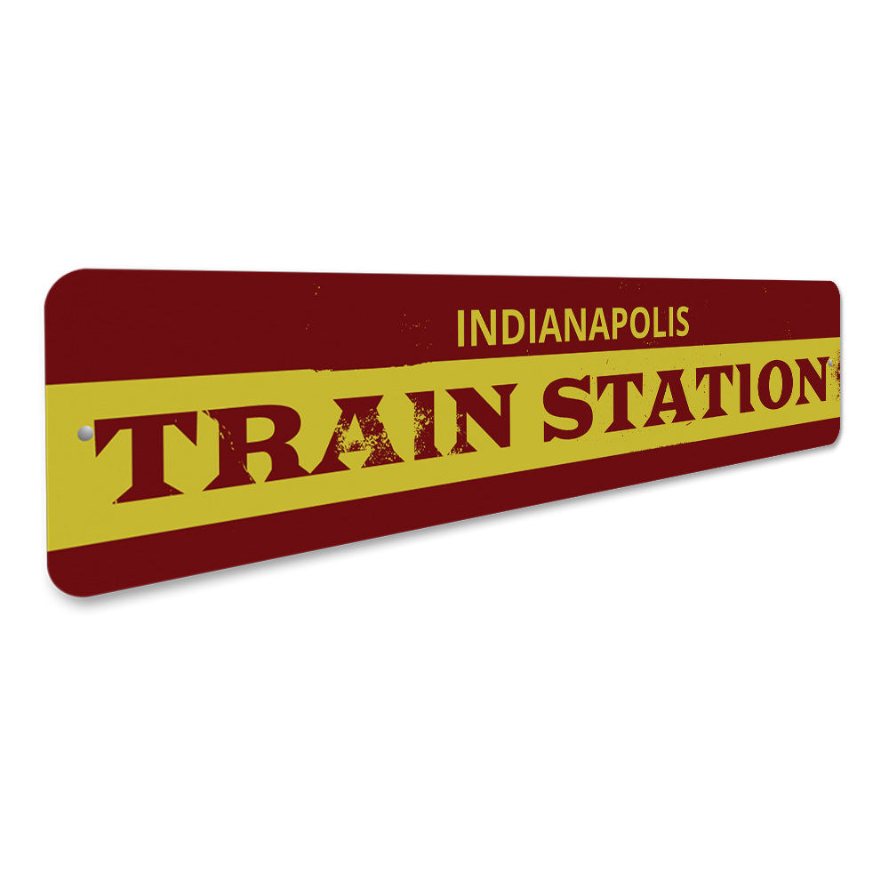 Train Station City Arrow Sign Aluminum Sign