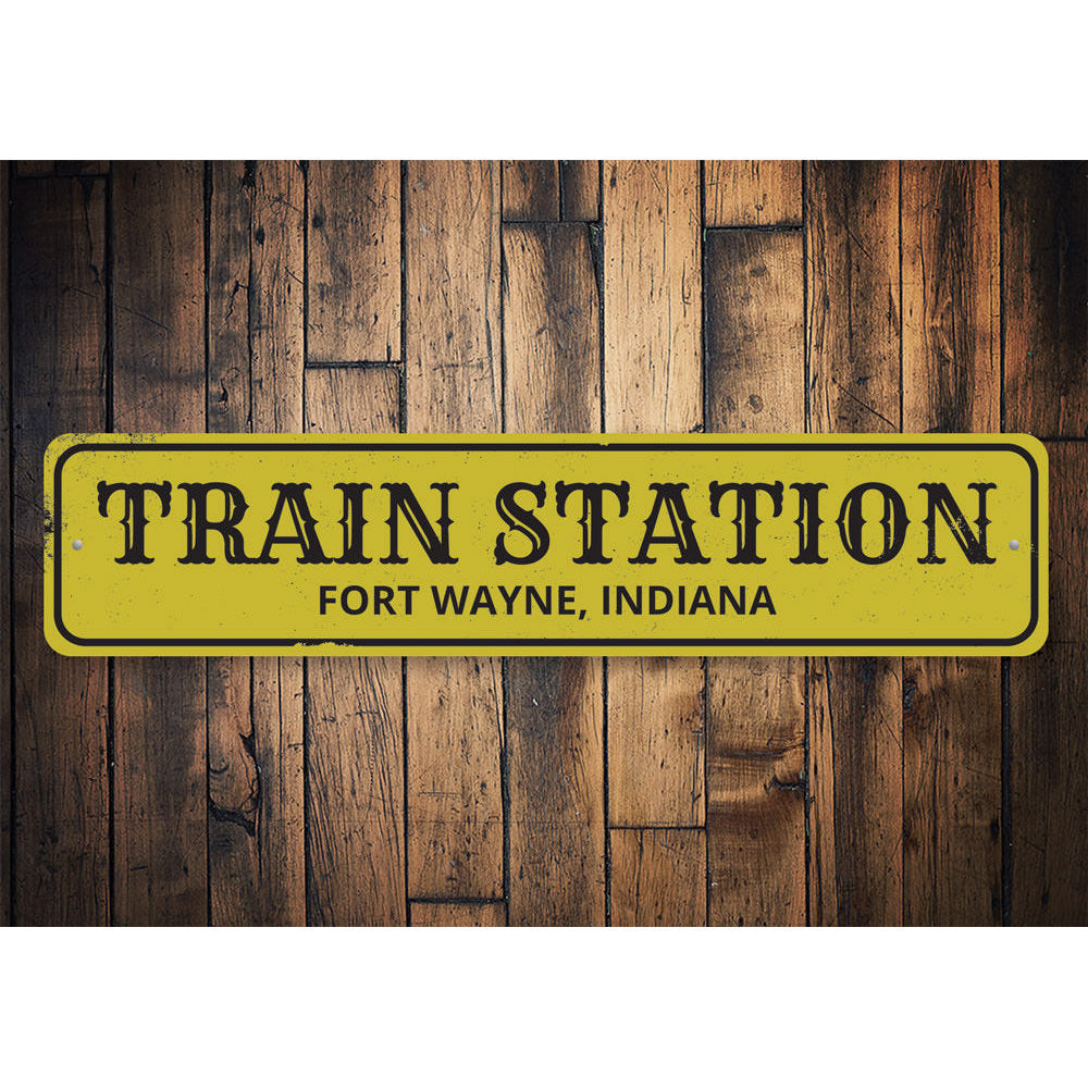 Train Station City State Sign Aluminum Sign