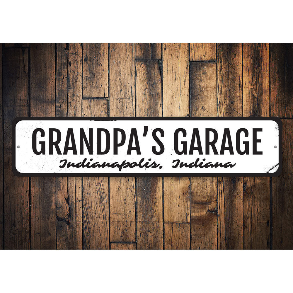Grandpas Garage Sign Aluminum Sign