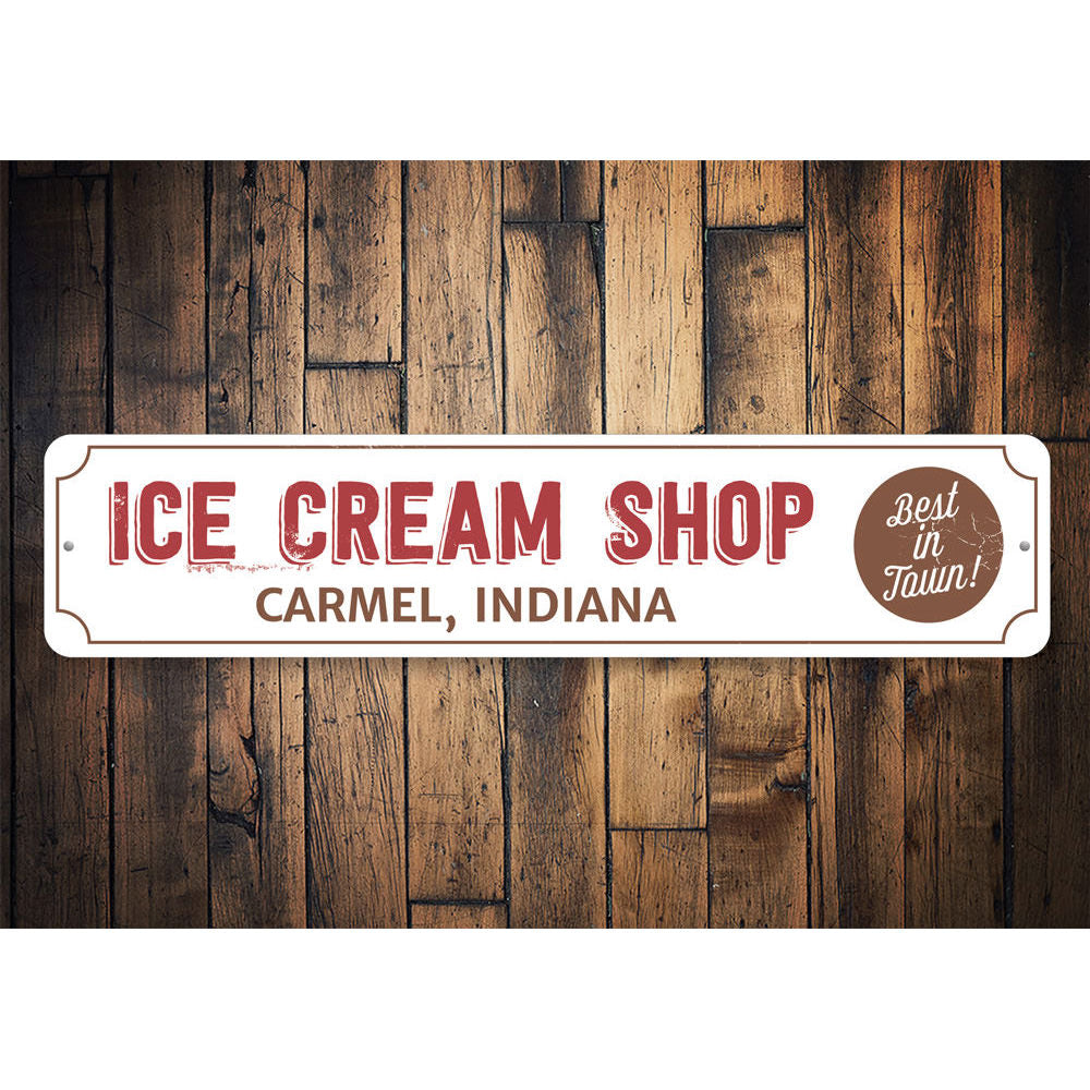Ice Cream Shop Location Sign Aluminum Sign