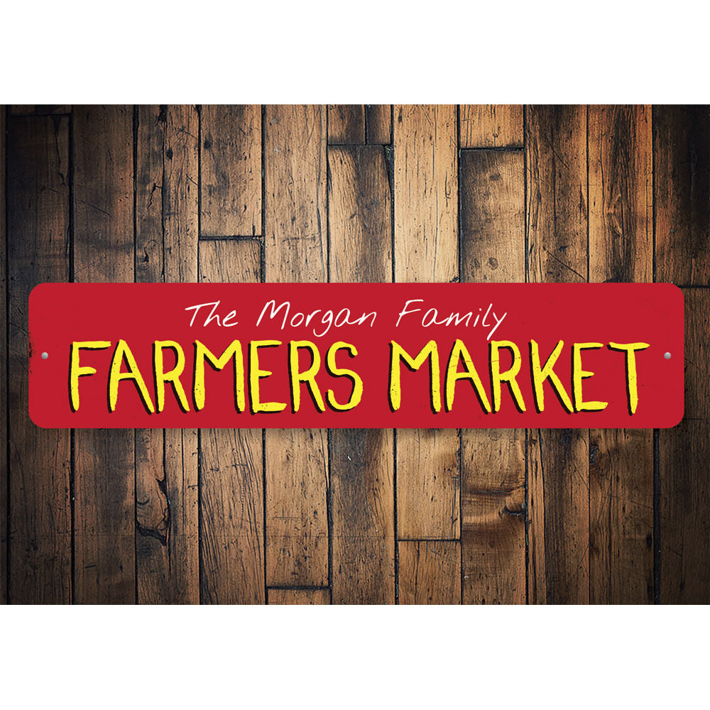 Family Farmers Market Sign Aluminum Sign