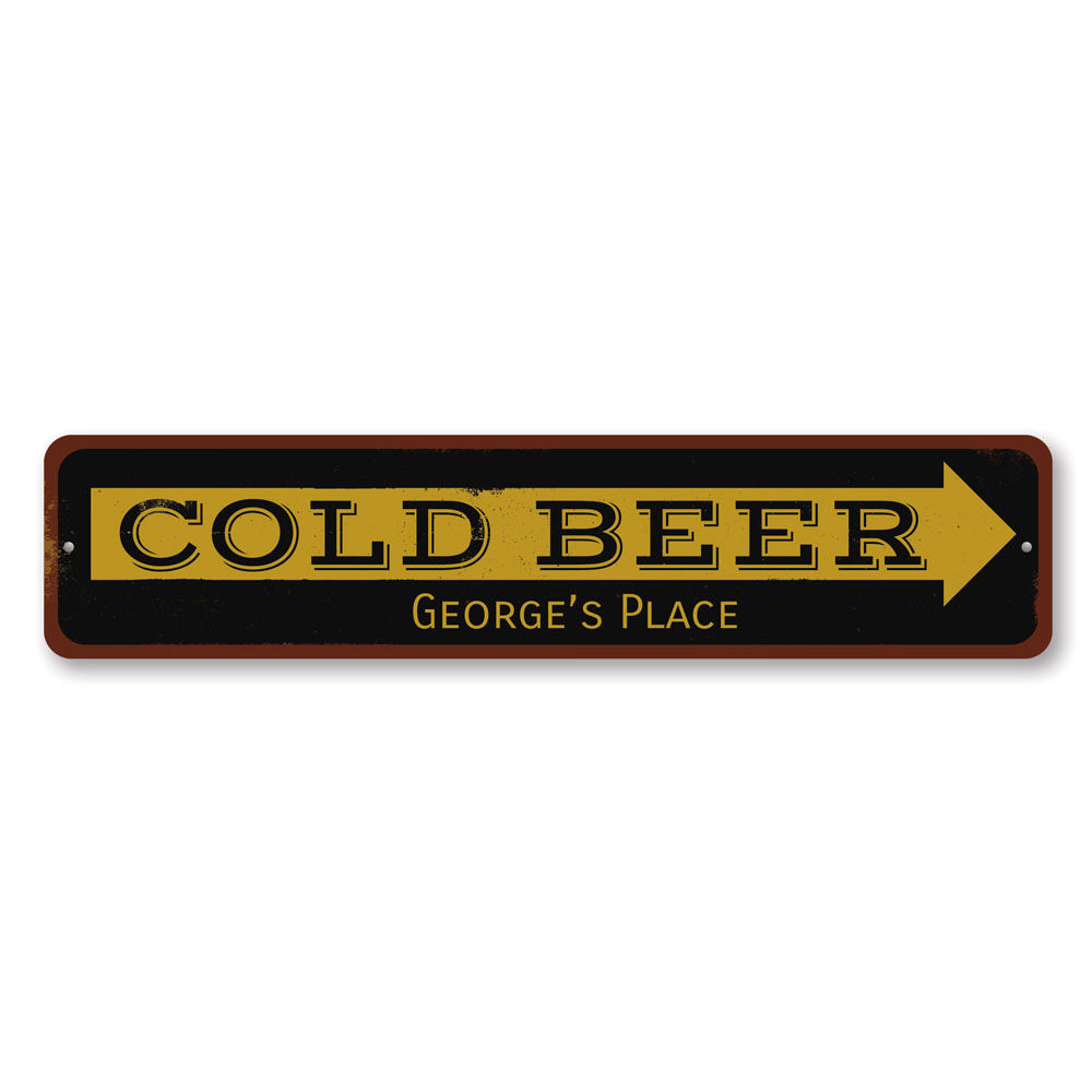 Cold Beer Arrow Sign Aluminum Sign