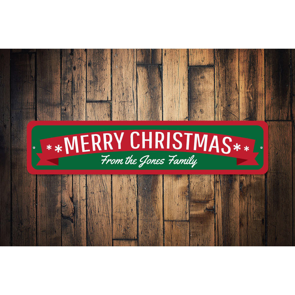 Merry Christmas Banner Sign Aluminum Sign