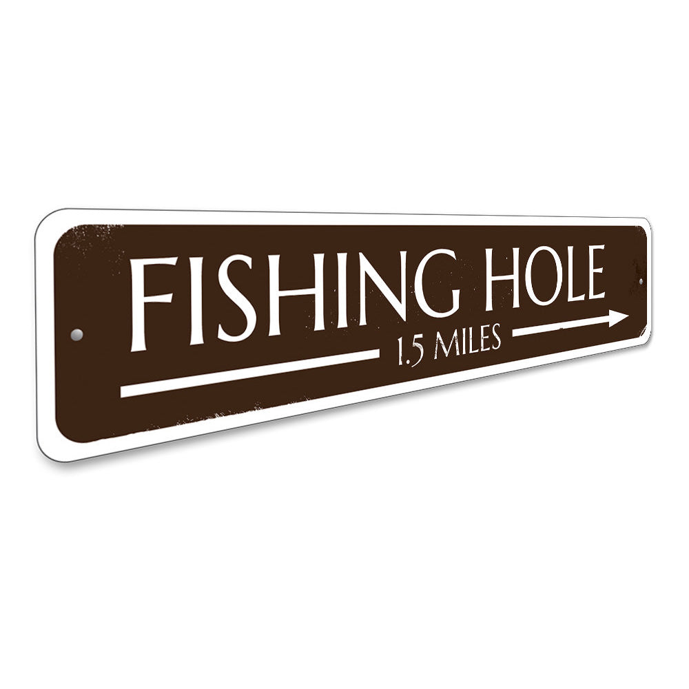 Fishing Hole Arrow Sign Aluminum Sign