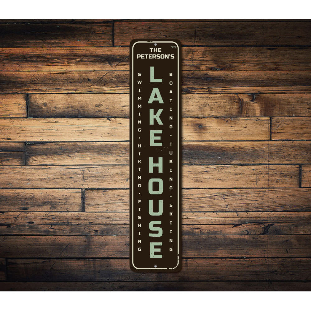 Family Name Lake House Vertical Sign Aluminum Sign
