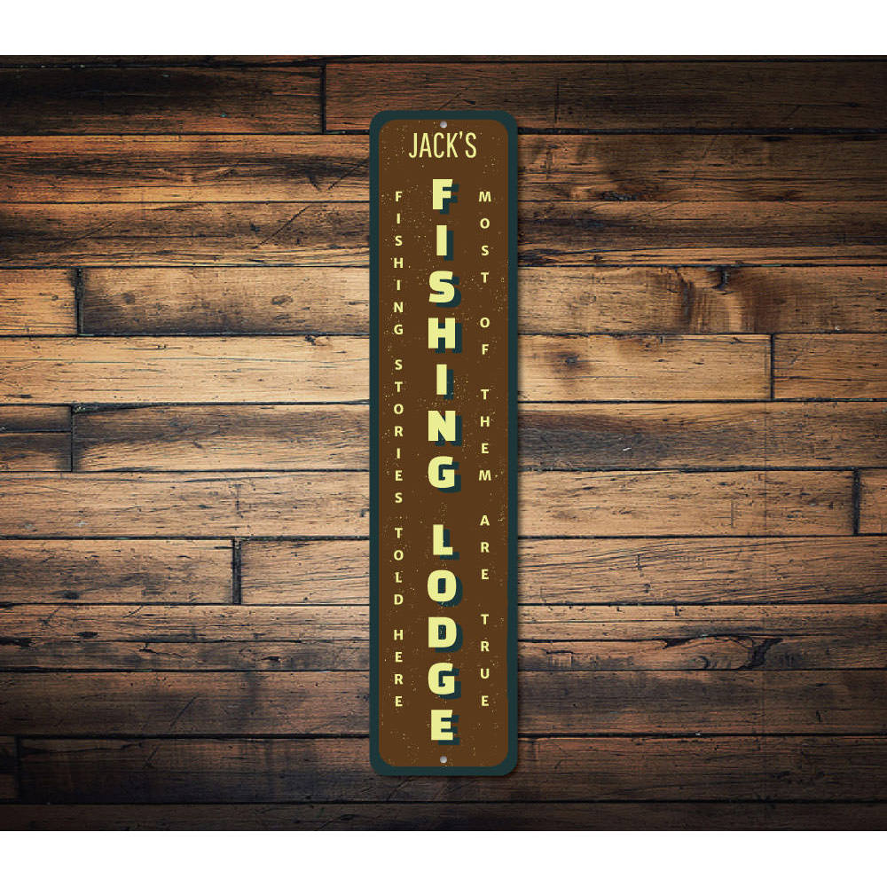 Fishing Lodge Vertical Sign Aluminum Sign