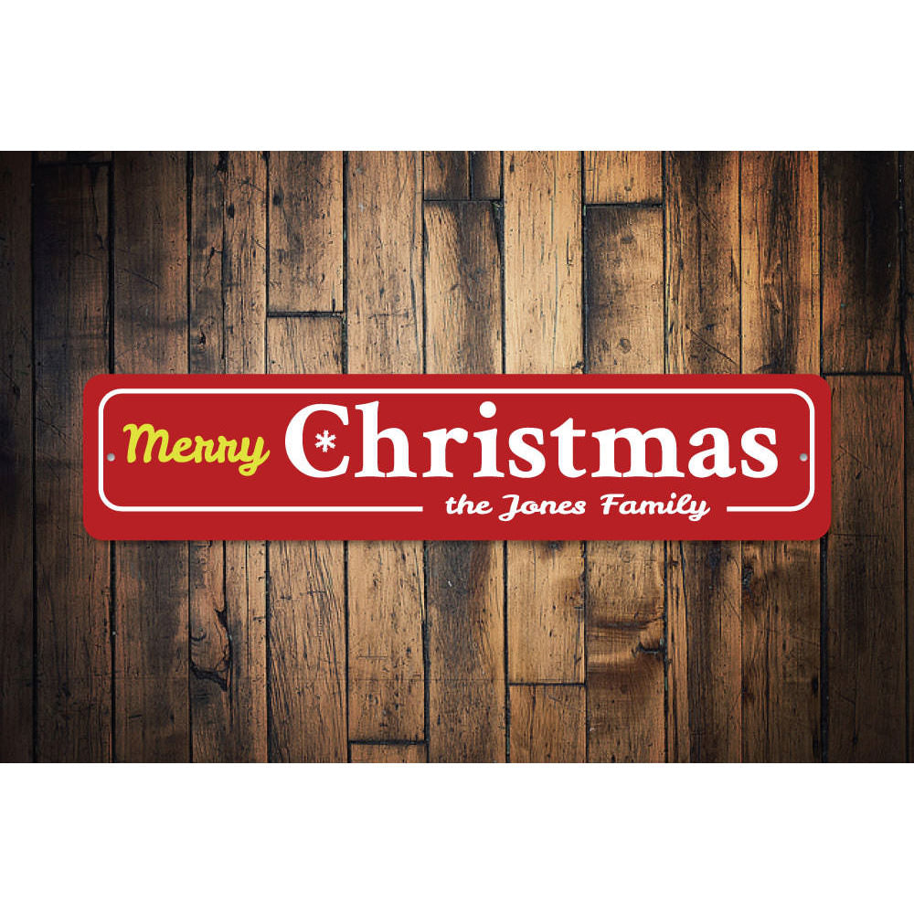 Family Merry Christmas Snowflake Sign Aluminum Sign