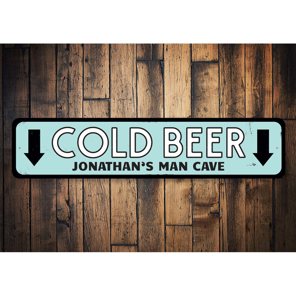 Cold Beer Arrows Sign Aluminum Sign