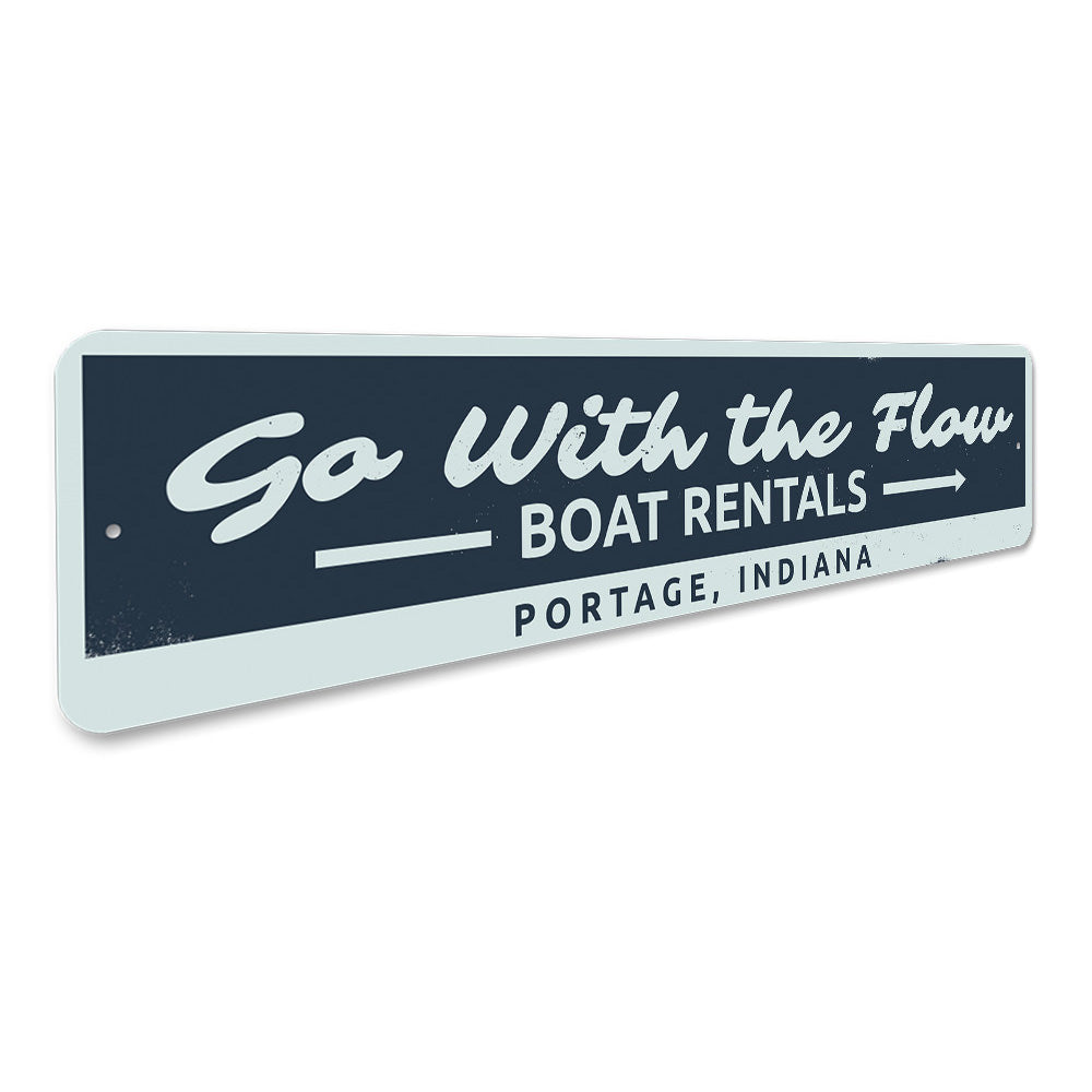 Go with the Flow Lake Sign Aluminum Sign