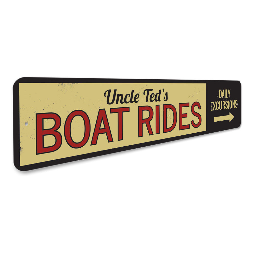 Boat Rides Directional Sign Aluminum Sign