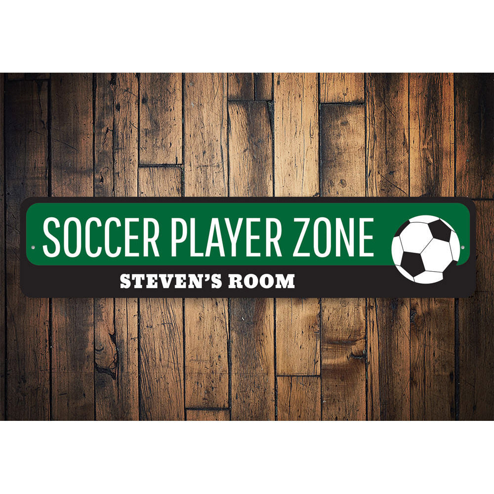 Soccer Player Zone Sign Aluminum Sign