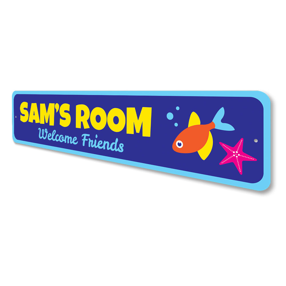 Aquatic Welcome Friends Sign Aluminum Sign
