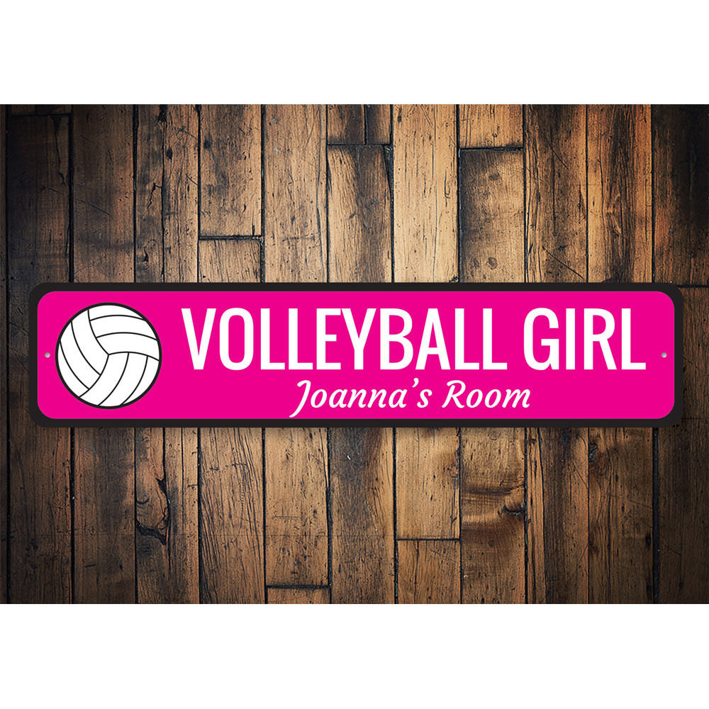 Volleyball Girl Sign Aluminum Sign