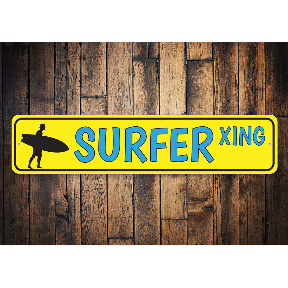 Surfer Crossing Sign Aluminum Sign