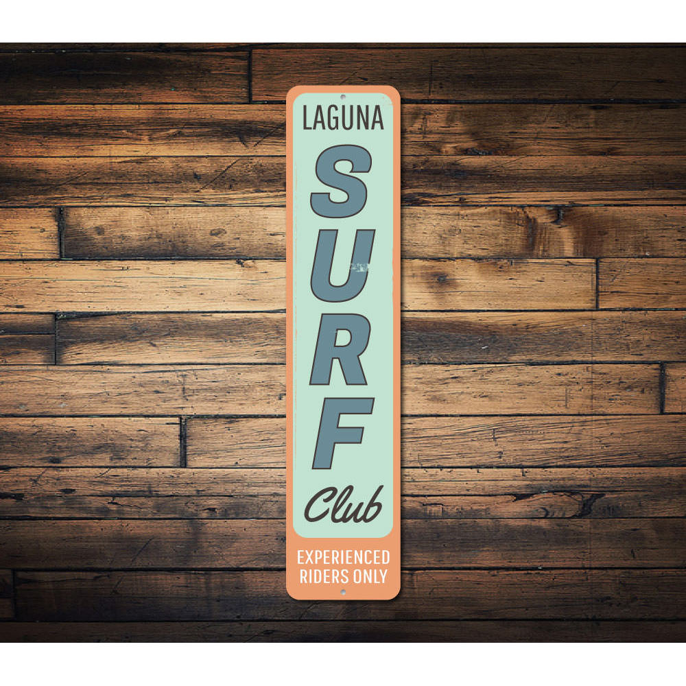 Surf Club Vertical Sign Aluminum Sign