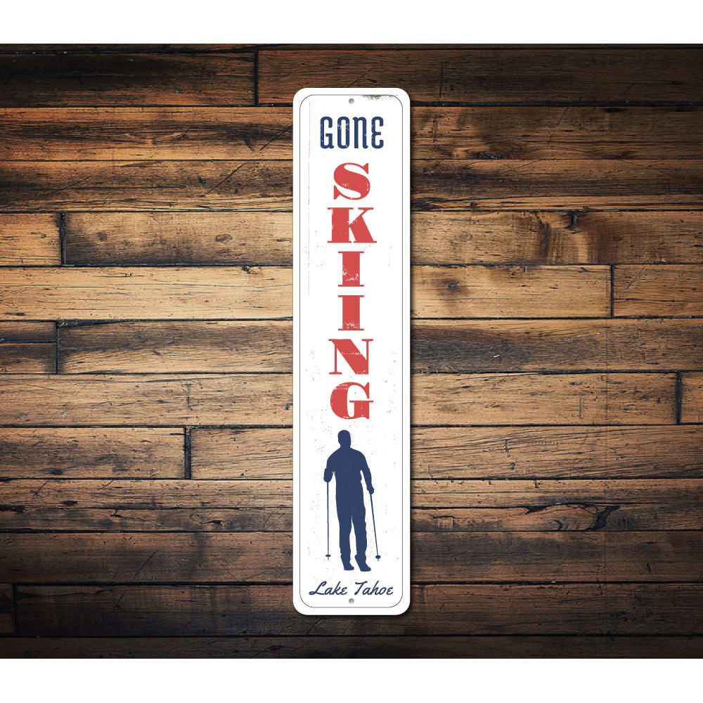 Skiing Vertical Sign Aluminum Sign