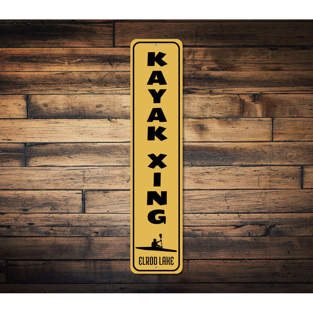 Kayak Crossing Vertical Sign Aluminum Sign