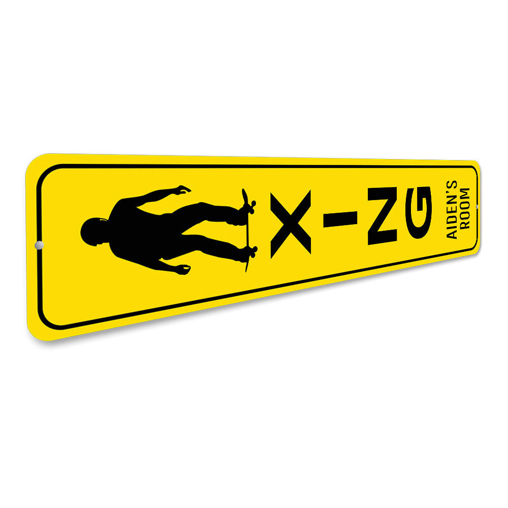 Skateboarder Crossing Sign Aluminum Sign