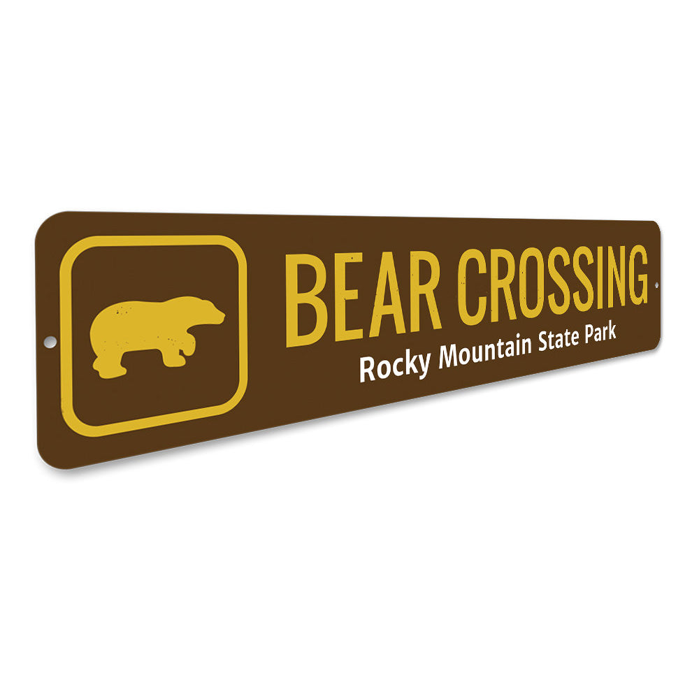 Bear Crossing Trail Sign Aluminum Sign