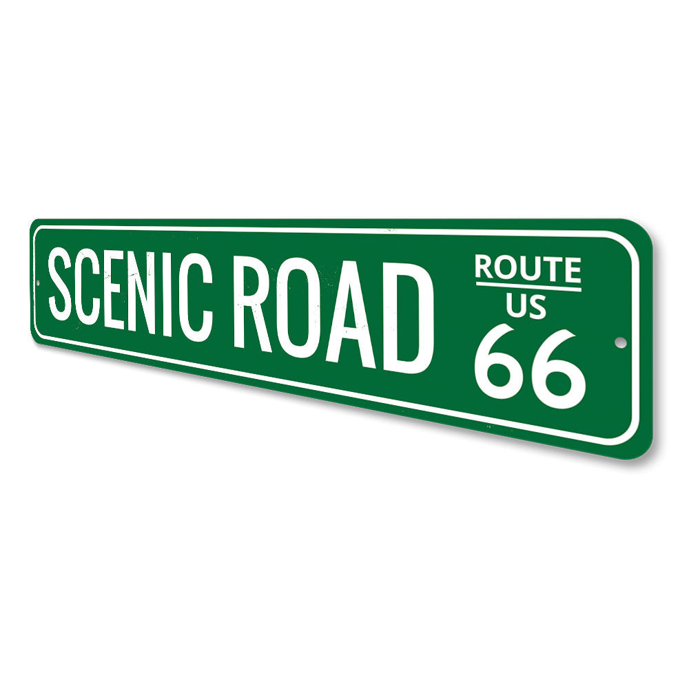 Scenic Road US Route 66 Sign Aluminum Sign