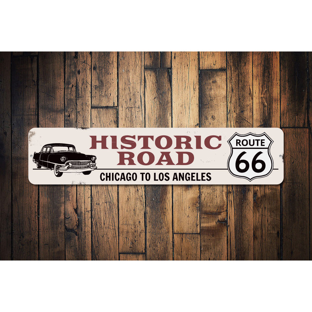 Classic Car Route 66 Sign Aluminum Sign