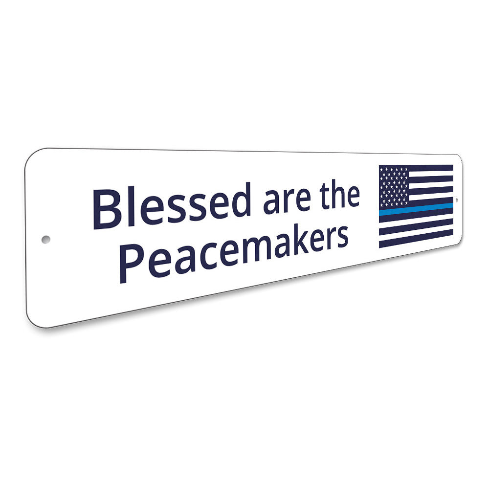 Blessed Blue Line Flag Sign Aluminum Sign