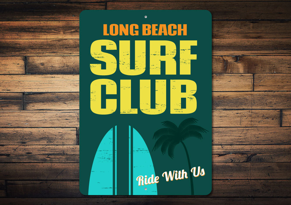 Beach Surf Club Sign Aluminum Sign