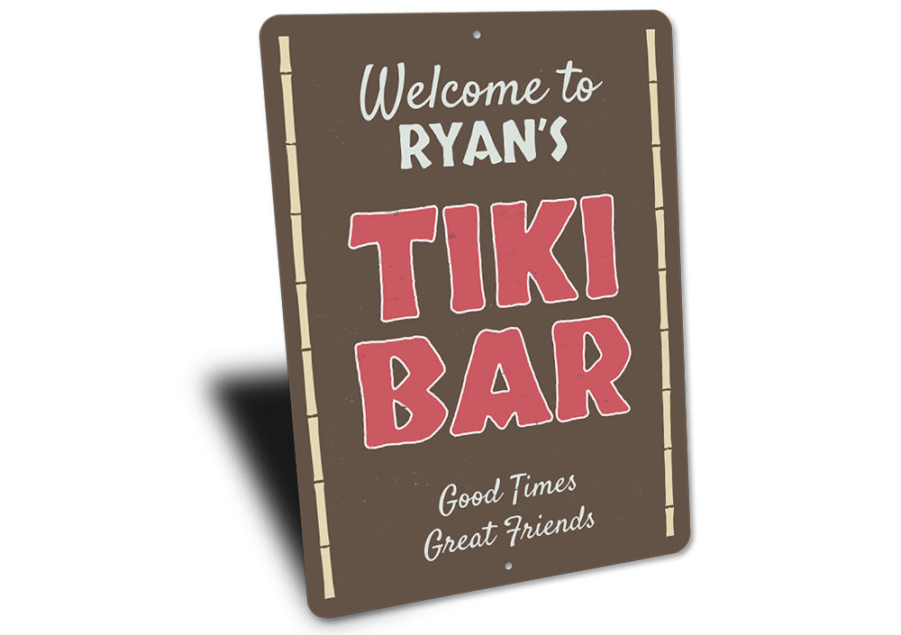 Welcome Name Tiki Bar Sign Aluminum Sign