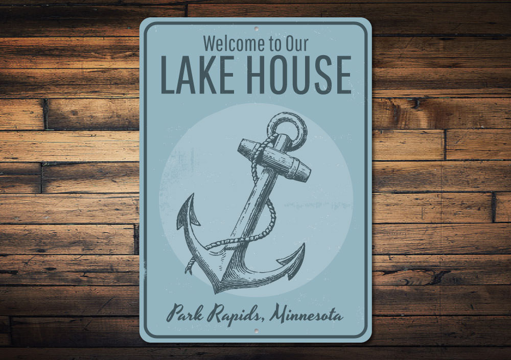 Lake House Welcome Anchor Sign Aluminum Sign