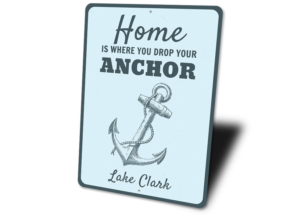 Nautical Lake Anchor Sign Aluminum Sign