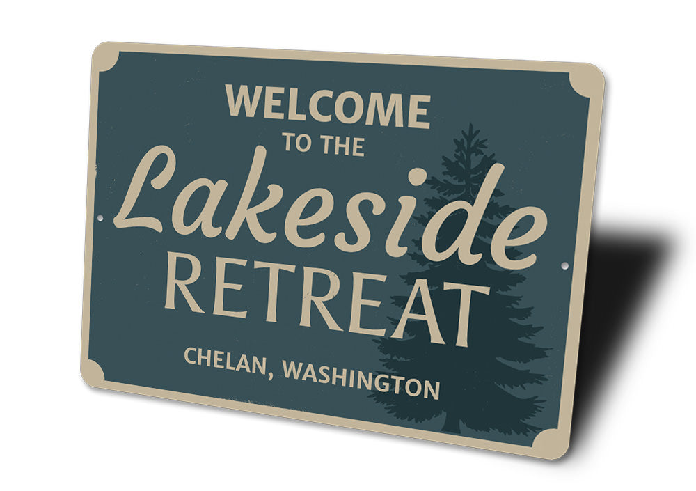 Welcome Lakeside Retreat Sign Aluminum Sign