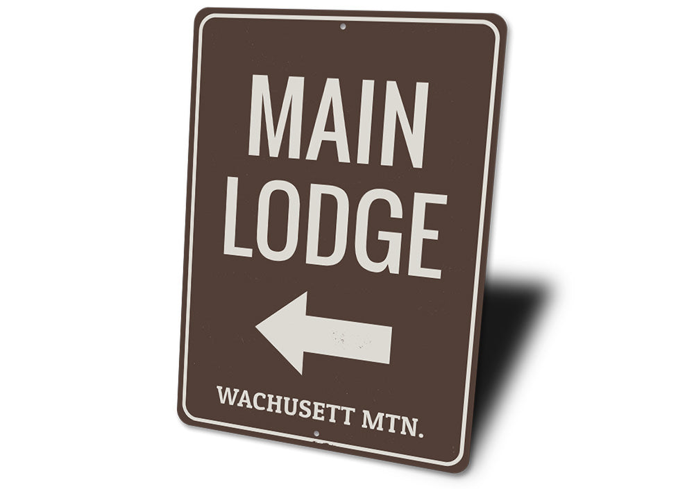 Main Lodge Arrow Sign Aluminum Sign
