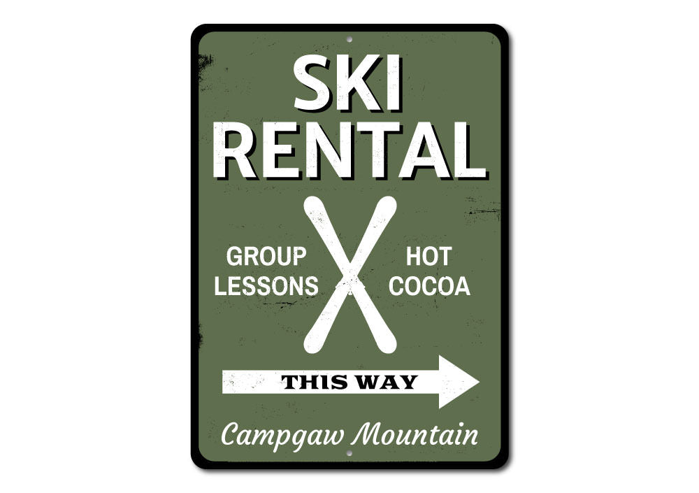 Ski Rental This Way Sign Aluminum Sign