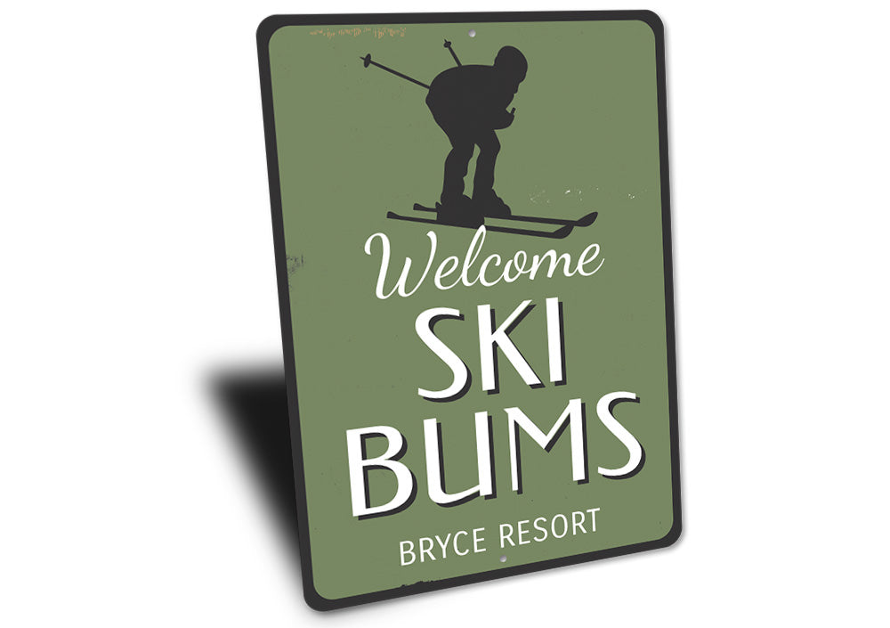 Ski Resort Skier Sign Aluminum Sign