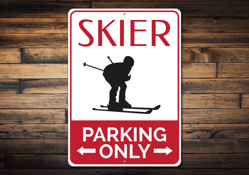 Skier Parking Sign Aluminum Sign