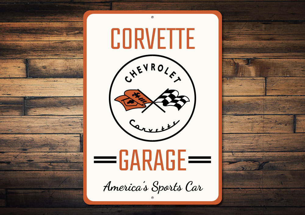 Corvette Sports Car Sign Aluminum Sign