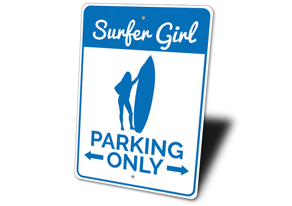Surfer Girl Parking Sign Aluminum Sign