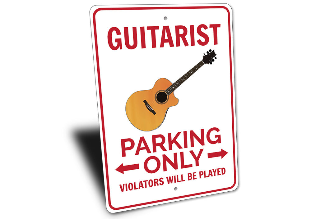 Guitarist Parking Sign Aluminum Sign