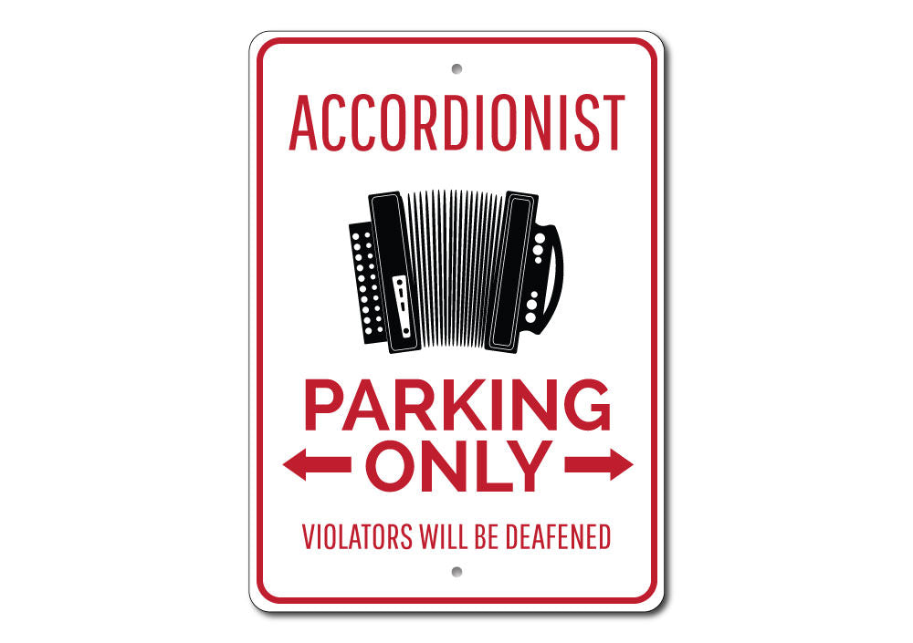 Accordionist Parking Sign Aluminum Sign