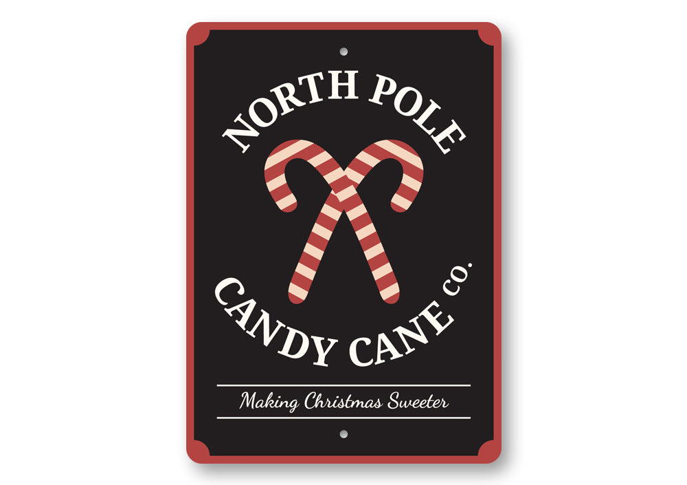 North Pole Candy Cane Company Sign Aluminum Sign