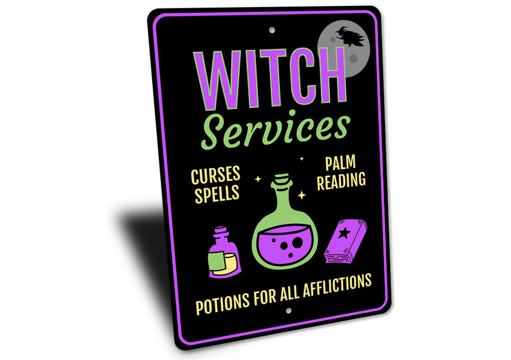 Witch Services Sign Aluminum Sign