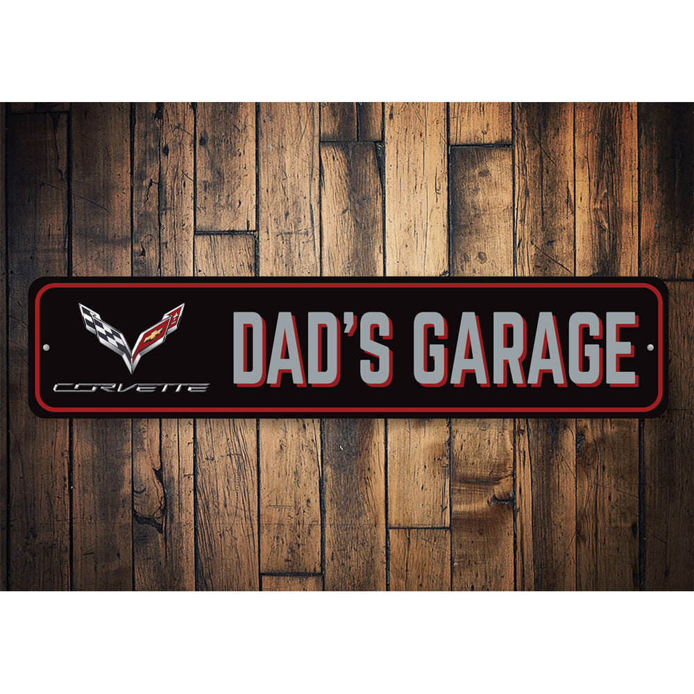 Dads Corvette Garage Sign Aluminum Sign