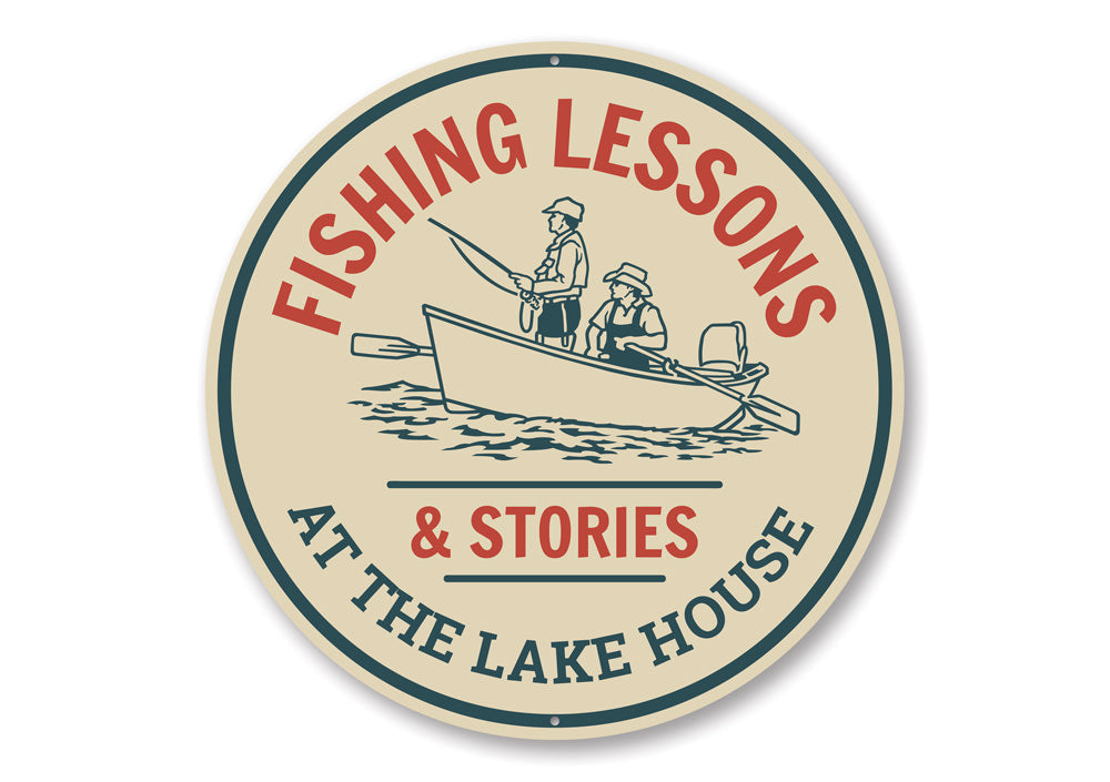 Fishing Lessons Sign Aluminum Sign